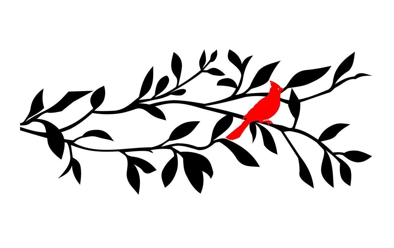 Cardinal In Tree Branch Vinyl Wall Decal