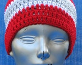 Ohio State Skullcap Game Day Gear Series beanie hat cap hand crocheted warm snuggley red white and grey