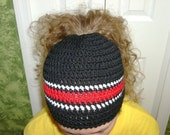 Bun hat Crocheted Messy Bun Hat Holy Hat or Ponytail hat Dread Hat Dread Headband