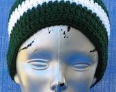 Handmade Crocheted GO JETS drk green and white beanie skullcap
