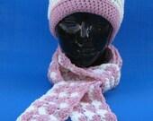 Crocheted Pink and Off White Hat skullcap beanie Strawberries n Cream Hand Crocheted hat