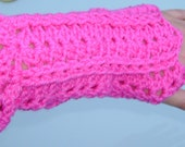 HOT pink wristwarmers fingerless gloves arm warmers or what ever u want to call them