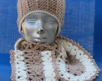 SALE    Hand Crocheted Tan and Cream Crocheted Scarf    SALE