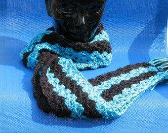Black and Turquoise Skinny Scarf Cowl or Neck Warmer Hand Crocheted