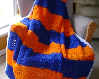 Comfy Campus Cover Up-afghan-college football college basketball throw crocheted handmade Gators UF University of Florida Florida Gators