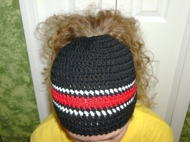 Free Crochet Pattern Ponytail Hat : Bun hat Crocheted Messy Bun Hat Holy Hat or Ponytail hat Dread