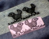 Hand carved stamp - Marching Birds