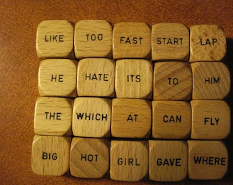 Wooden Word Dice Cubes 21 Dice 6 words per wooden dice