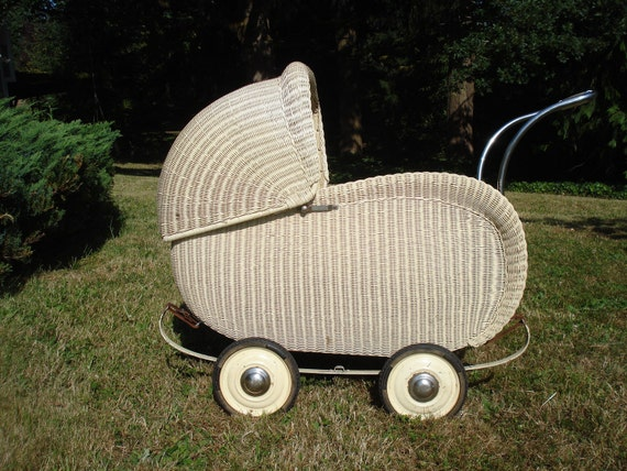 REDUCED SALE  Antique Art Deco Wicker 1920s Baby Stroller LOCAL pick up Portland or Seattle