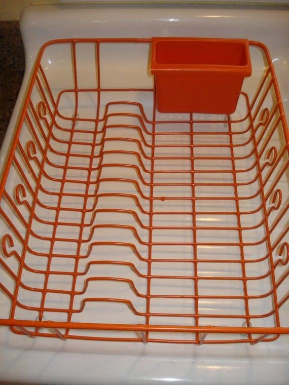 Vintage Orange Tangerine 1960 S Dish Drainer With