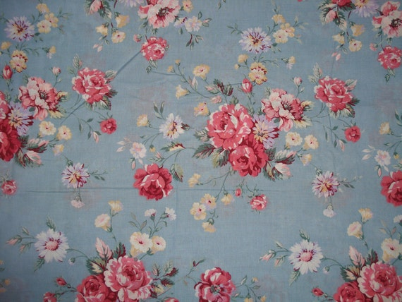 Vintage 2 YARDS Old Stock Fabric Joan Kessler Flowers Cottage Shabby Chic Design Original with Price Tag