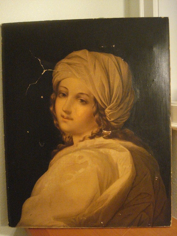 """Antique Large Print on Canvas or Fabric Portrait 20 x 25"""" Stretched fabric with Print Painting"""