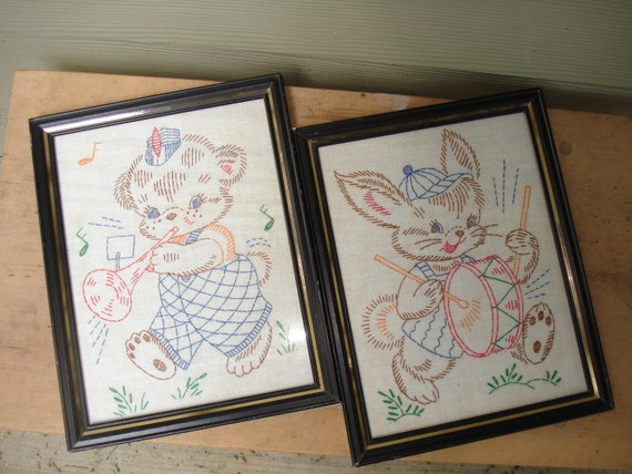 "Vintage Pair Childs Embroidered Pictures Bunny Bear Drums and Horns Framed 9 x 7"" / embroidered animals / bunny/ bear"