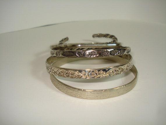 Vintage Bangle Bracelets / possible sterling / flower / mexico / five bracelets /