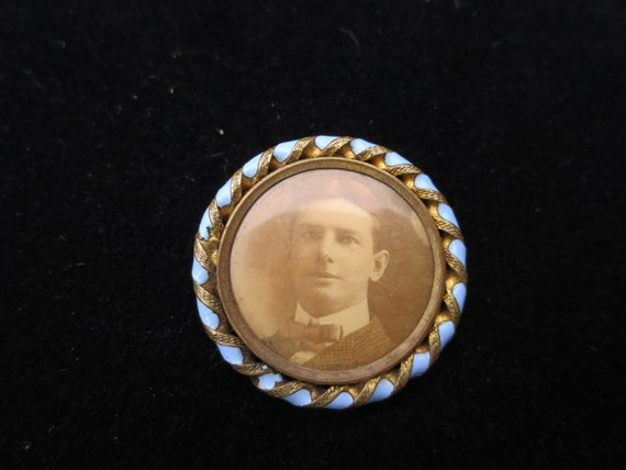 Vintage Antique Victorian Edwardian Gold Filled Mourning Photo Brooch Pin Periwinkle Enamel Trim