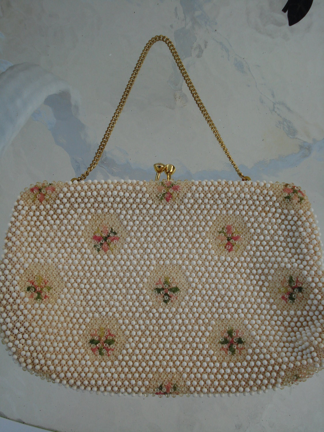 reserved for potqueen vintage beaded purse corden bead corder