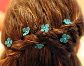 Turquoise Beaded Flower Hair Pins