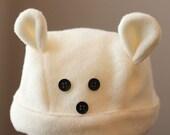Polar Bear Fleece Hat with bear tail
