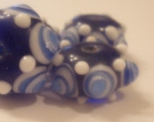 Blue and White with Bumpy Lampwork Spacer Bead