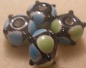 Aqua and Green with Black Lampwork  Beads
