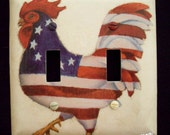 Double Light Switch Plate Cover American Flag Rooster Kitchen Decor