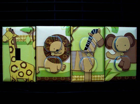 Light Switch Cover, Outlet Covers Baby Cocoa Lambs and Ivy Theme Nursery Decor
