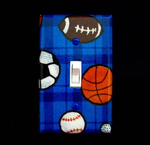 Sports Theme Light Switch Cover Basketball Football Soccer