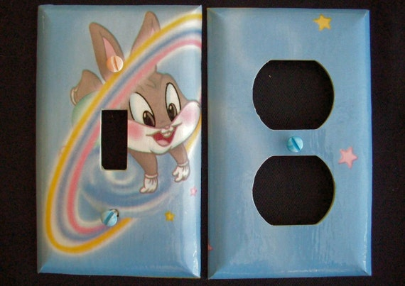 Single Light Switch Plate Cover and Single Outlet Plate Cover Baby Looney Tunes Bugs Bunny