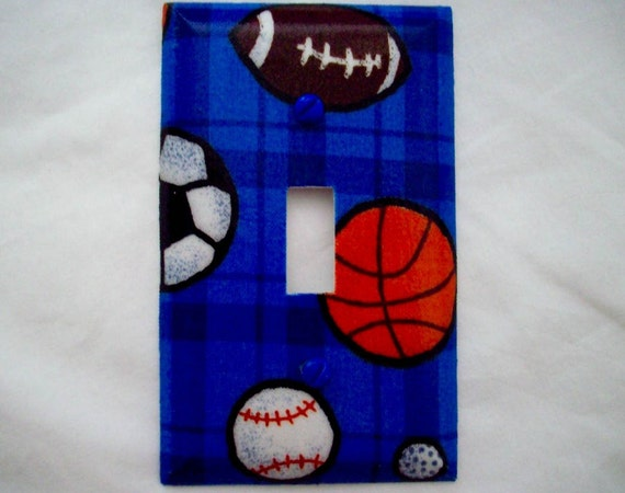 Single Light Switch Plate Cover Sports Theme Basketball