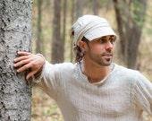 Natural Off White Linen Wrap Cap Dreadlock Hat