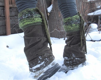 Extra Thick Apres Ski Leg Warmer Grounding Mossy Hues Ready to Ship