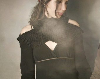 Double Cross Shrug in Black, with Knit Accents