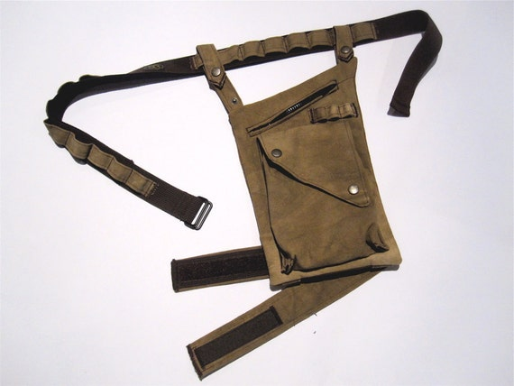 RESERVED for Teresa Miraglia Leg Bag in Hand Dyed Black Canvas with leg Strap and Adjustable Belt