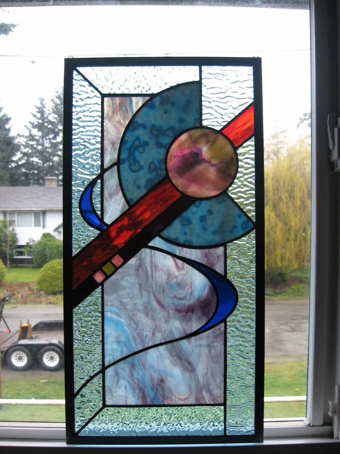 Stained glass abstract design window for Modern glass designs