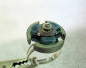 Deep Electric Blue Coil Rotor Round-Triangular Geekery Ring