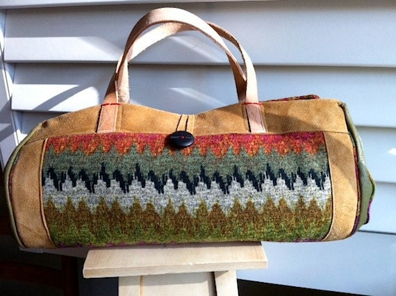 Zig Zag Knit and Leather Barrel Bag Was 40 Dollars