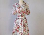 vintage Blossoms Cotton Day Dress  Size M