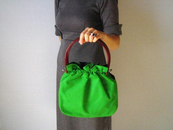vintage Preppy Green Reversible Handbag