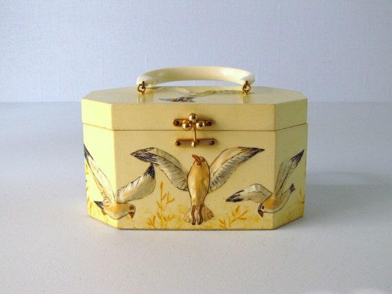 vintage 1960s Handbag /  Wood Handbag by  Annie Laurie Seagulls