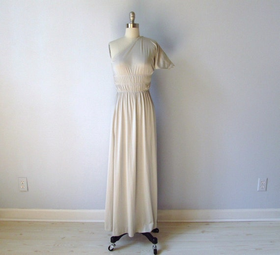 vintage One Shoulder Dress /   70s Grecian Dress in Celestial Grey