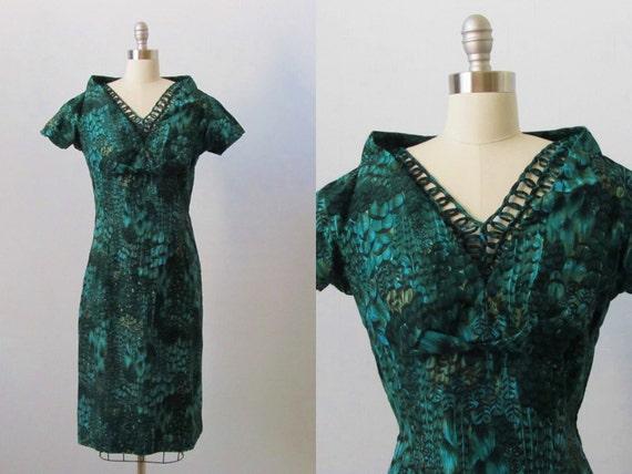 1960s Dress / 60s Dress / Wiggle Dress / Juniper Mist