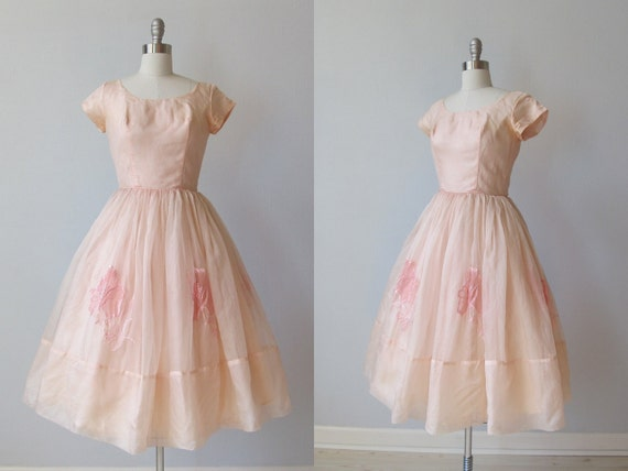 RESERVED 1950s Dress / 50s Tea Length Party  Dress /  Pink Silk Organza