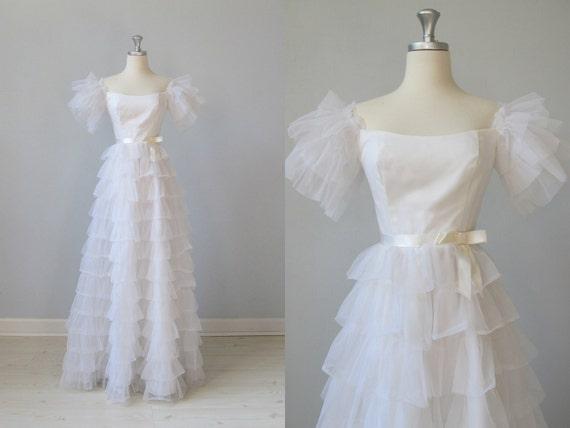 vintage Wedding Dress / White Formal Dress / Pommier Blane