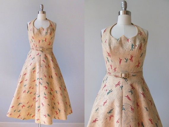 vintage 1950s Dresses /  Halter Dress /  50s Swing Dress /  Let's Dance
