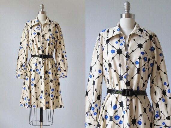 1970s Dress / 1970s Day Dress / Ink Blots