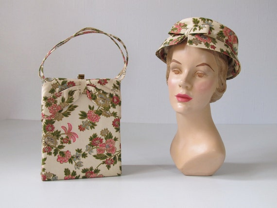Vintage Matching Hat and Handbag / 1950s Hat / 1950s Handbag / Sweet Nothings