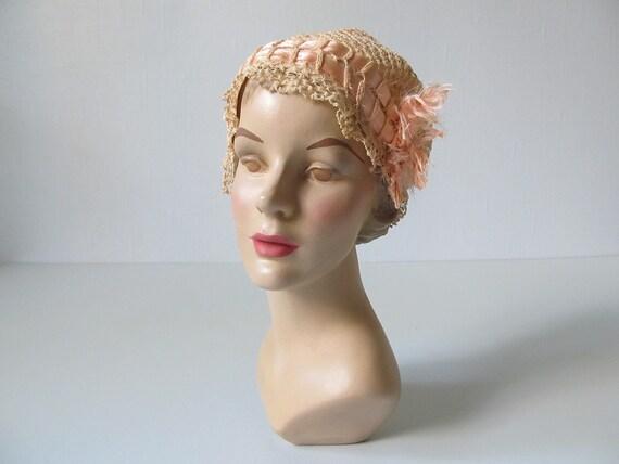 vintage 1940s Hat / Flapper Hat / Tatting Hat