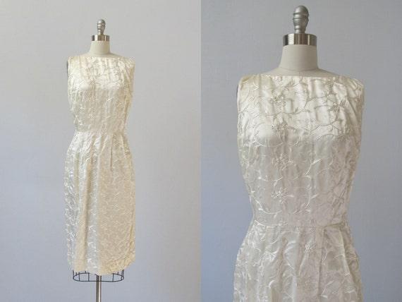 vintage 1960s Dress / Wiggle Dress / 60s Dress / White Satin