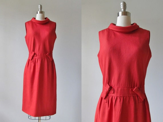 RESERVED 1960s Dress /  60s Dress /  Red Linen Dress / Donald Brooks