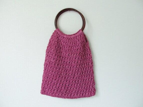 vintage Woven Handbag / Woven Sack Purse / Grape Popsicle